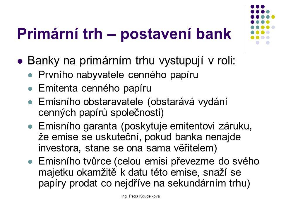 Ing. Petra Koudelková Primární trh – postavení bank Banky na primárním trhu vystupují v roli: Prvního nabyvatele cenného papíru Emitenta cenného papír