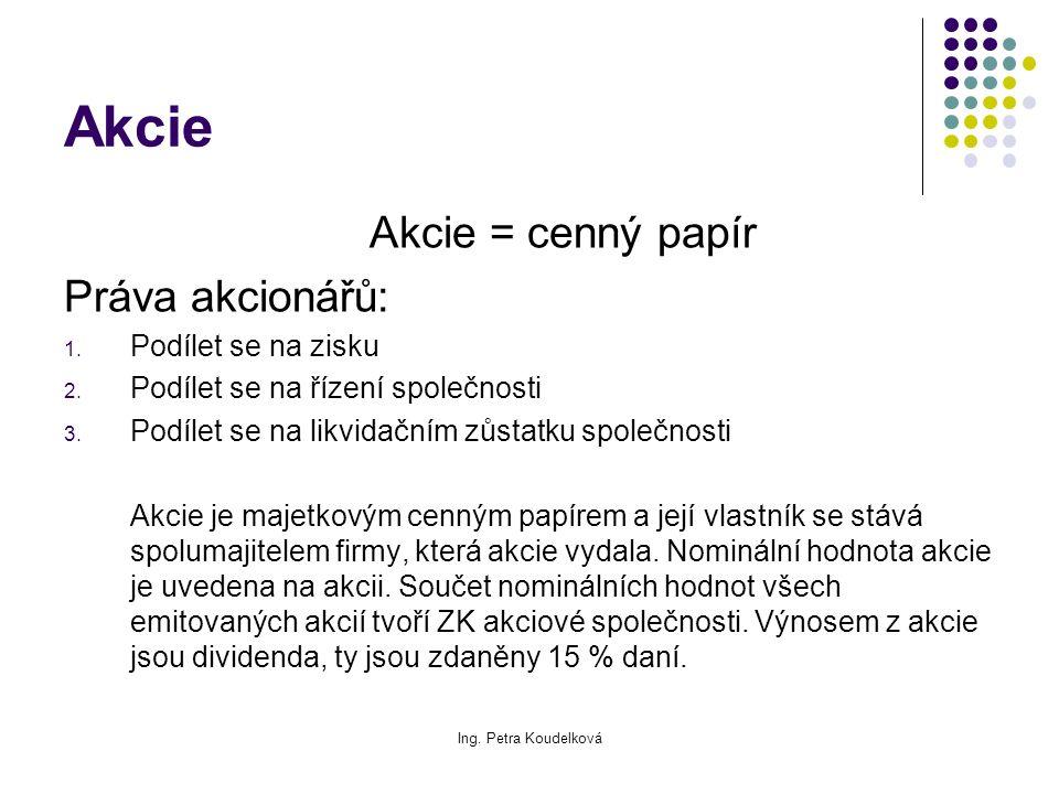 Ing. Petra Koudelková Akcie Akcie = cenný papír Práva akcionářů: 1. Podílet se na zisku 2. Podílet se na řízení společnosti 3. Podílet se na likvidačn