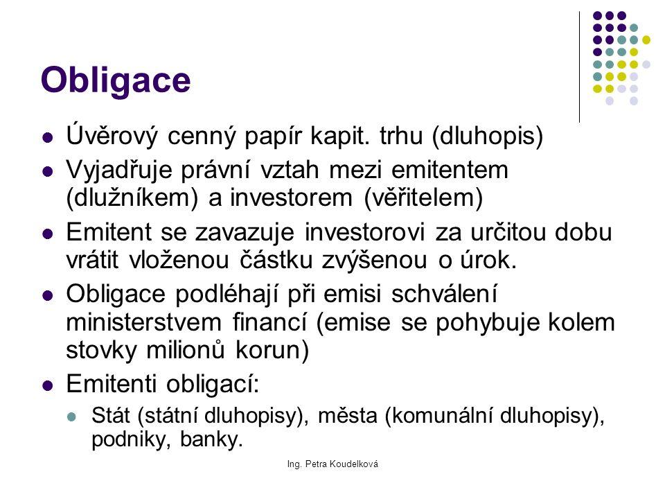 Ing. Petra Koudelková Obligace Úvěrový cenný papír kapit. trhu (dluhopis) Vyjadřuje právní vztah mezi emitentem (dlužníkem) a investorem (věřitelem) E