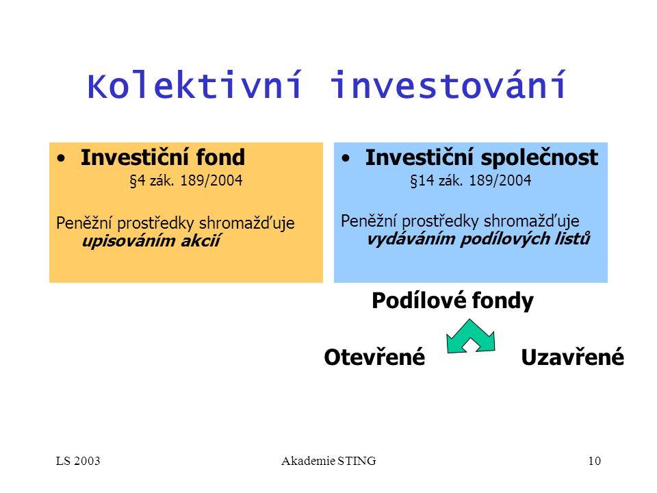 LS 2003Akademie STING10 Kolektivní investování Investiční fond §4 zák. 189/2004 Peněžní prostředky shromažďuje upisováním akcií Investiční společnost