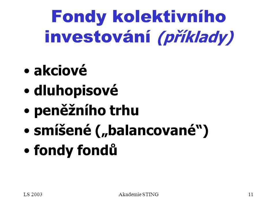 """LS 2003Akademie STING11 Fondy kolektivního investování (příklady) akciové dluhopisové peněžního trhu smíšené (""""balancované ) fondy fondů"""