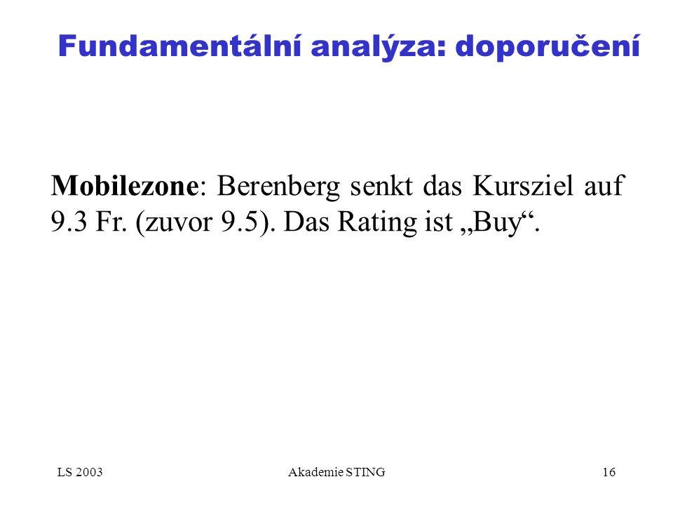 "LS 2003Akademie STING16 Fundamentální analýza: doporučení Mobilezone: Berenberg senkt das Kursziel auf 9.3 Fr. (zuvor 9.5). Das Rating ist ""Buy""."
