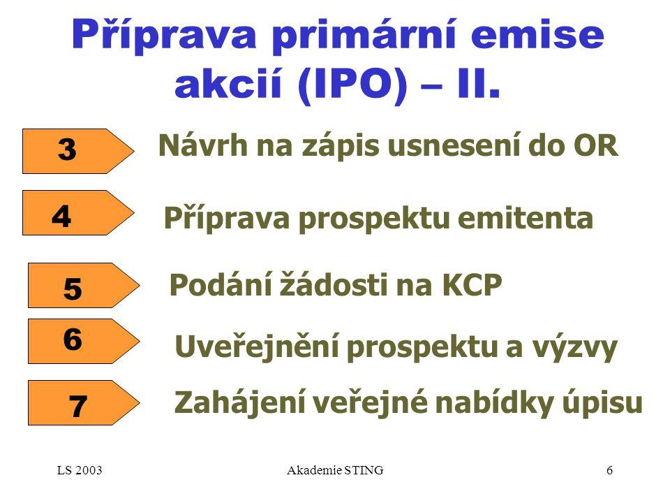 LS 2003Akademie STING6 Příprava primární emise akcií (IPO) – II. Návrh na zápis usnesení do OR 3 7 Zahájení veřejné nabídky úpisu 4 Příprava prospektu
