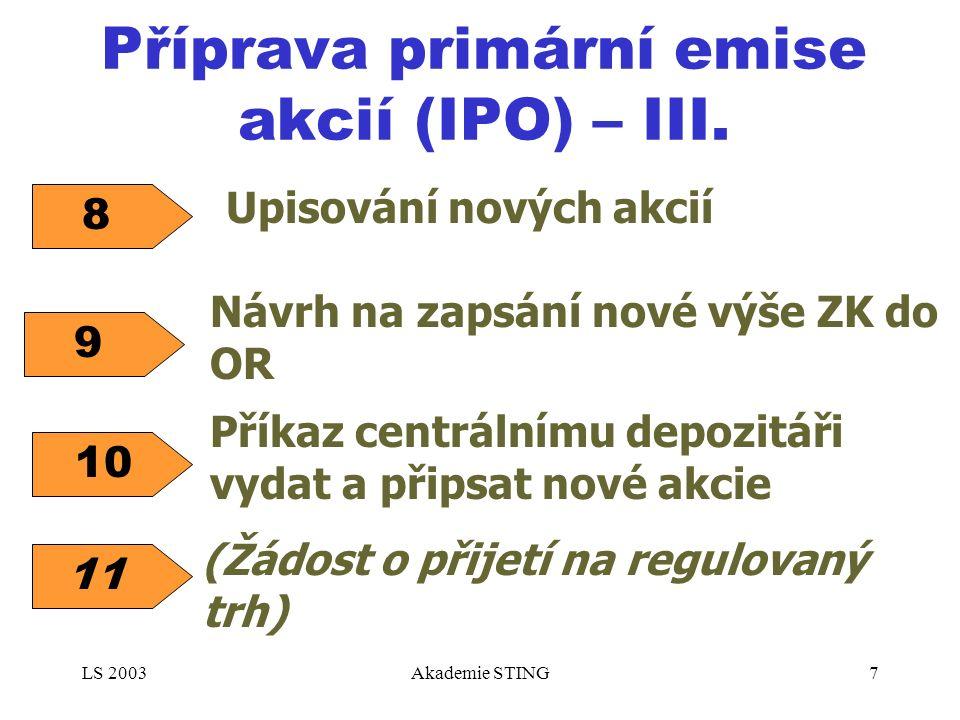 LS 2003Akademie STING7 Příprava primární emise akcií (IPO) – III. Upisování nových akcií 8 9 Návrh na zapsání nové výše ZK do OR Příkaz centrálnímu de