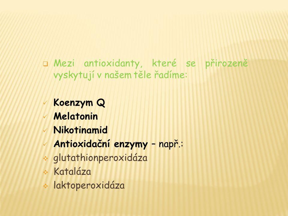  Mezi antioxidanty, které se přirozeně vyskytují v našem těle řadíme: Koenzym Q Melatonin Nikotinamid Antioxidační enzymy – např.:  glutathionperoxidáza  Kataláza  laktoperoxidáza