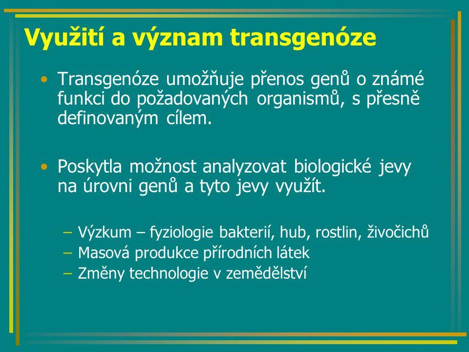 Další možnosti využití GMR Produkce látek pro humánní medicínu –Protilátky (plantibodies pasivní imunizace) –Antigeny (aktivní imunizace populace) –Jedlé vakcíny (řešení skladovatelnosti preparátů a jejich distribuce v cílových oblastech