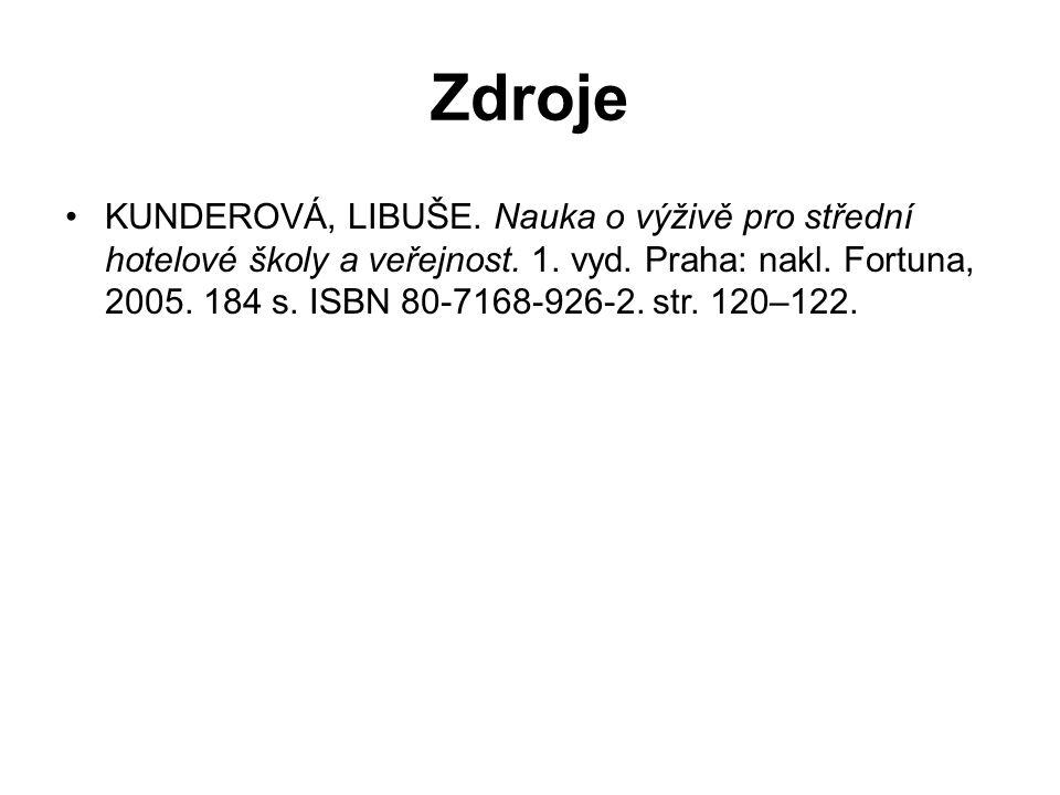 KUNDEROVÁ, LIBUŠE. Nauka o výživě pro střední hotelové školy a veřejnost. 1. vyd. Praha: nakl. Fortuna, 2005. 184 s. ISBN 80-7168-926-2. str. 120–122.