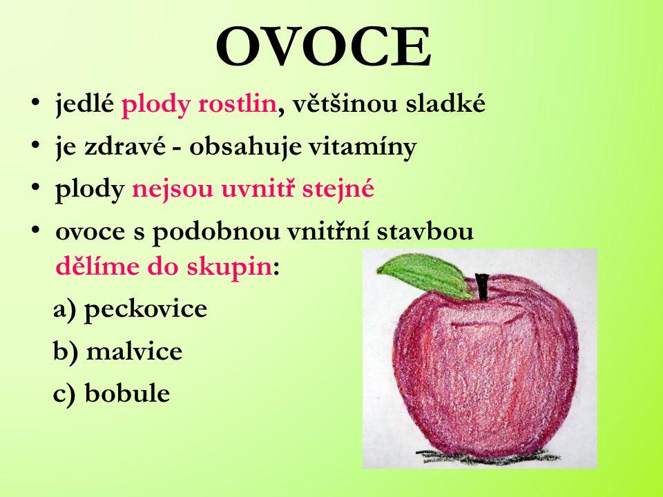 jedlé plody rostlin, většinou sladké je zdravé - obsahuje vitamíny plody nejsou uvnitř stejné ovoce s podobnou vnitřní stavbou dělíme do skupin: a) peckovice b) malvice c) bobule OVOCE