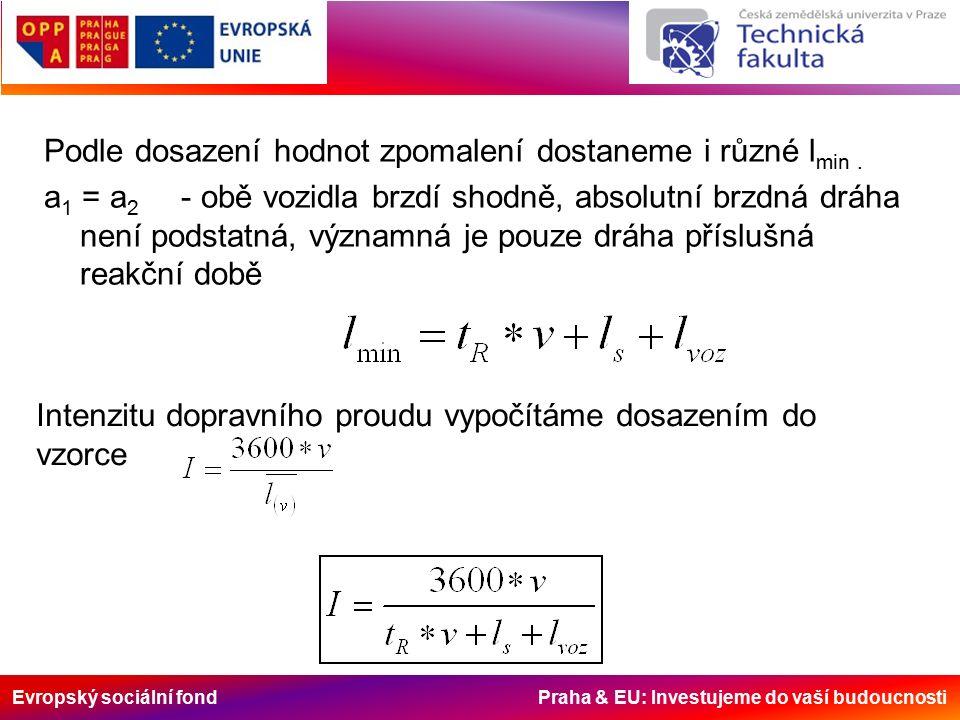Evropský sociální fond Praha & EU: Investujeme do vaší budoucnosti Podle dosazení hodnot zpomalení dostaneme i různé l min.