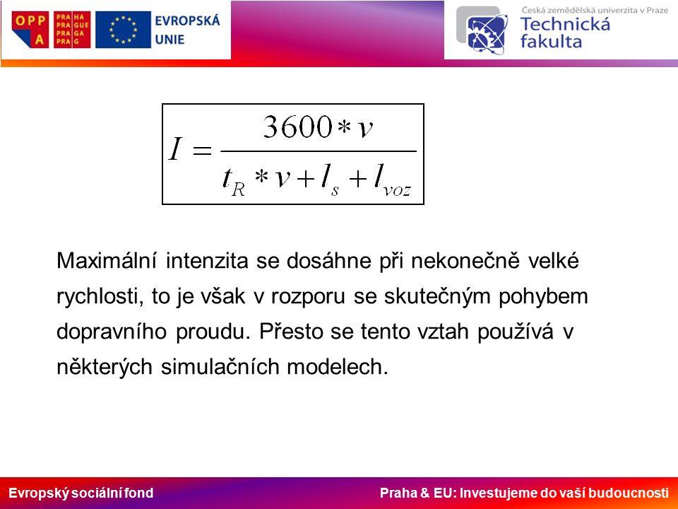 Evropský sociální fond Praha & EU: Investujeme do vaší budoucnosti Maximální intenzita se dosáhne při nekonečně velké rychlosti, to je však v rozporu se skutečným pohybem dopravního proudu.