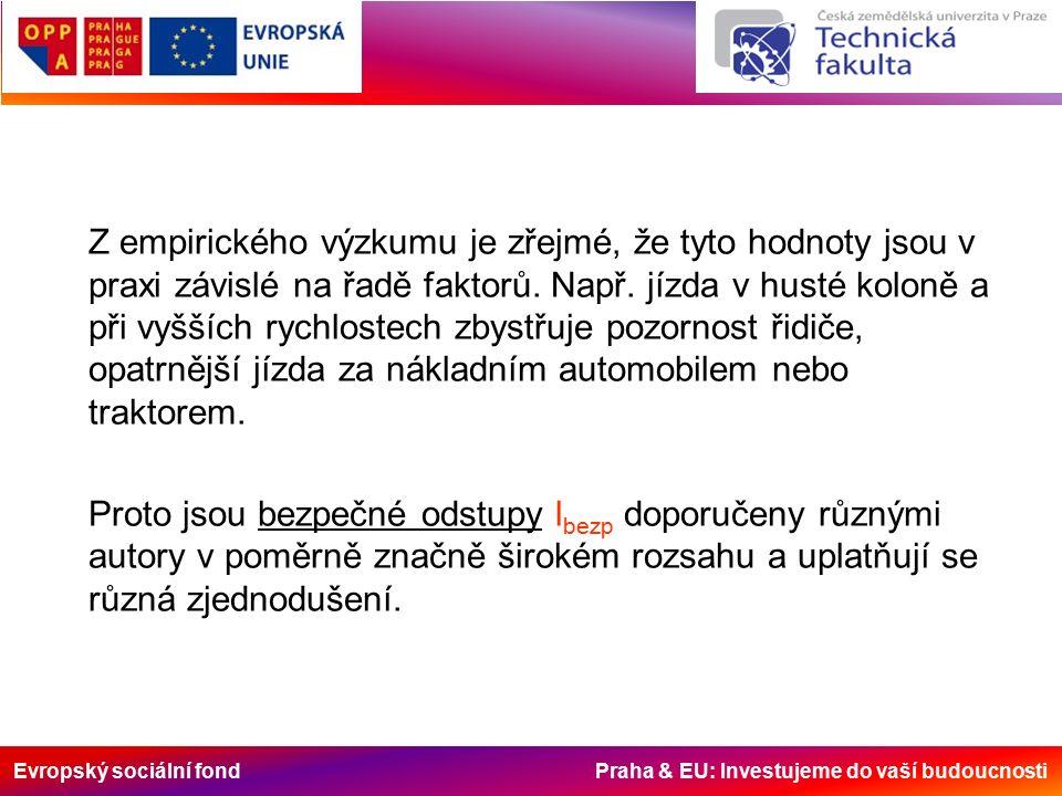 Evropský sociální fond Praha & EU: Investujeme do vaší budoucnosti Z empirického výzkumu je zřejmé, že tyto hodnoty jsou v praxi závislé na řadě faktorů.