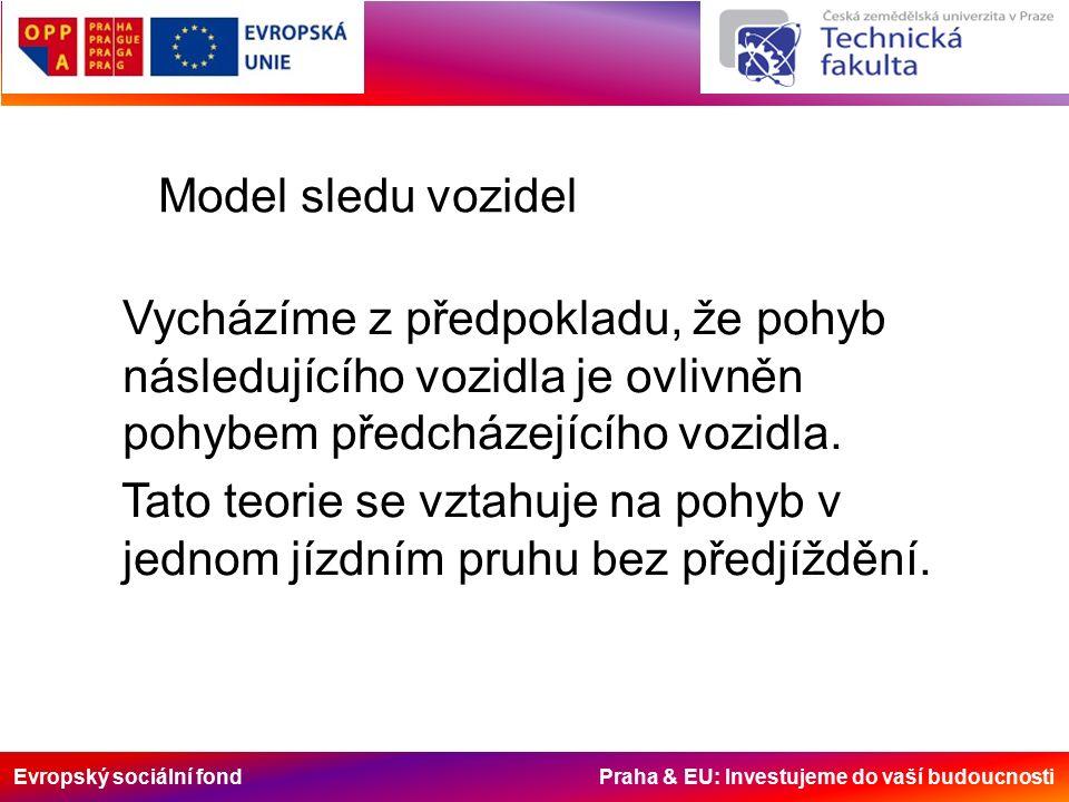 Evropský sociální fond Praha & EU: Investujeme do vaší budoucnosti Model sledu vozidel Vycházíme z předpokladu, že pohyb následujícího vozidla je ovlivněn pohybem předcházejícího vozidla.