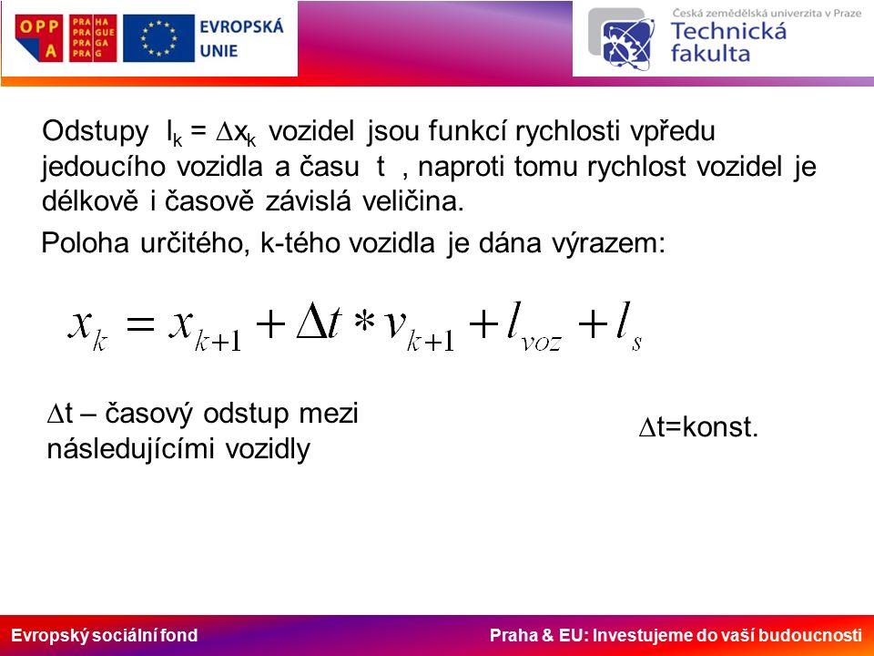 Evropský sociální fond Praha & EU: Investujeme do vaší budoucnosti Odstupy l k =  x k vozidel jsou funkcí rychlosti vpředu jedoucího vozidla a času t, naproti tomu rychlost vozidel je délkově i časově závislá veličina.