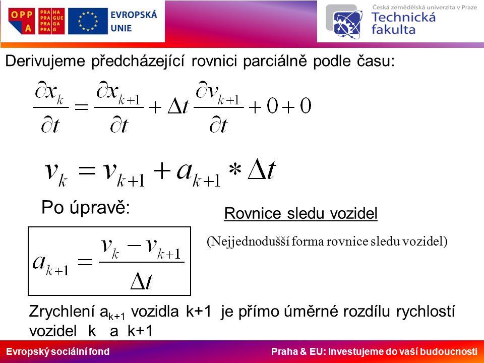 Evropský sociální fond Praha & EU: Investujeme do vaší budoucnosti Derivujeme předcházející rovnici parciálně podle času: Po úpravě: Rovnice sledu vozidel (Nejjednodušší forma rovnice sledu vozidel) Zrychlení a k+1 vozidla k+1 je přímo úměrné rozdílu rychlostí vozidel k a k+1