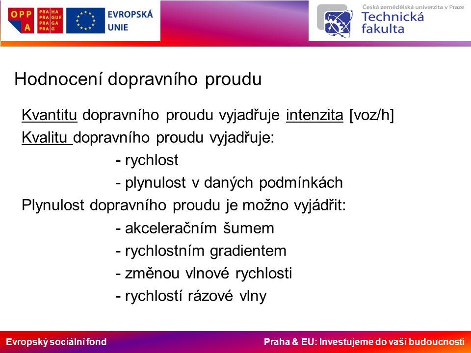 Evropský sociální fond Praha & EU: Investujeme do vaší budoucnosti Hodnocení dopravního proudu Kvantitu dopravního proudu vyjadřuje intenzita [voz/h] Kvalitu dopravního proudu vyjadřuje: - rychlost - plynulost v daných podmínkách Plynulost dopravního proudu je možno vyjádřit: - akceleračním šumem - rychlostním gradientem - změnou vlnové rychlosti - rychlostí rázové vlny