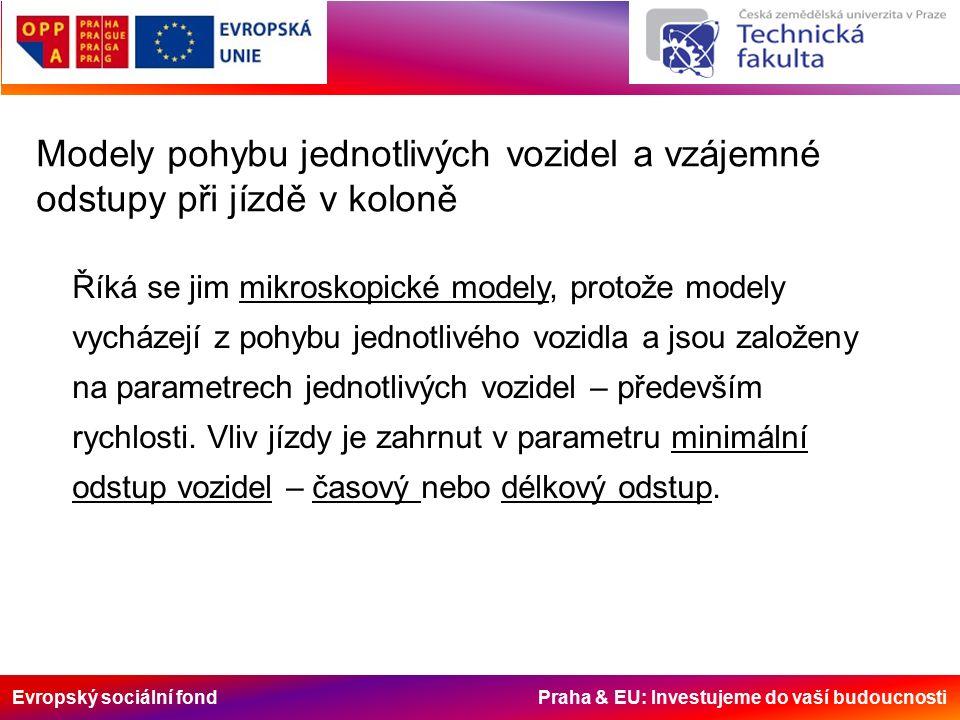 Evropský sociální fond Praha & EU: Investujeme do vaší budoucnosti Modely pohybu jednotlivých vozidel a vzájemné odstupy při jízdě v koloně Říká se jim mikroskopické modely, protože modely vycházejí z pohybu jednotlivého vozidla a jsou založeny na parametrech jednotlivých vozidel – především rychlosti.