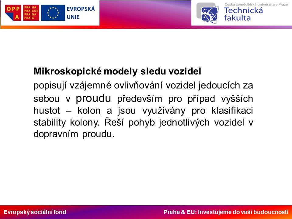 Evropský sociální fond Praha & EU: Investujeme do vaší budoucnosti Mikroskopické modely sledu vozidel popisují vzájemné ovlivňování vozidel jedoucích za sebou v proudu především pro případ vyšších hustot – kolon a jsou využívány pro klasifikaci stability kolony.