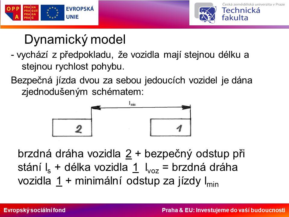 Evropský sociální fond Praha & EU: Investujeme do vaší budoucnosti Dynamický model - vychází z předpokladu, že vozidla mají stejnou délku a stejnou rychlost pohybu.