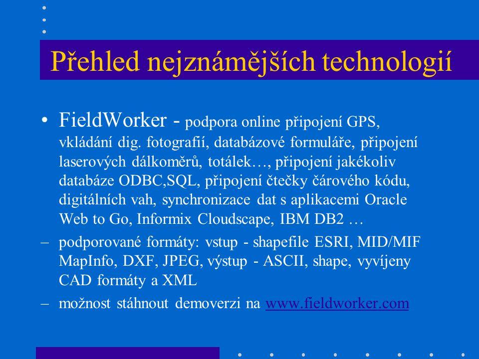 Přehled nejznámějších technologií FieldWorker - podpora online připojení GPS, vkládání dig.