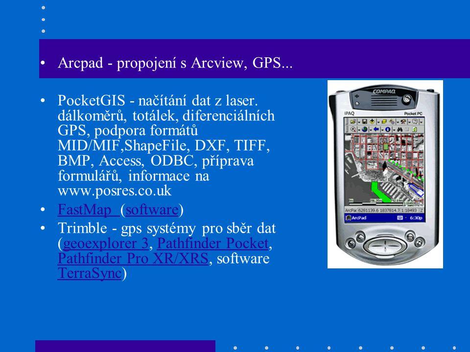 Arcpad - propojení s Arcview, GPS... PocketGIS - načítání dat z laser.