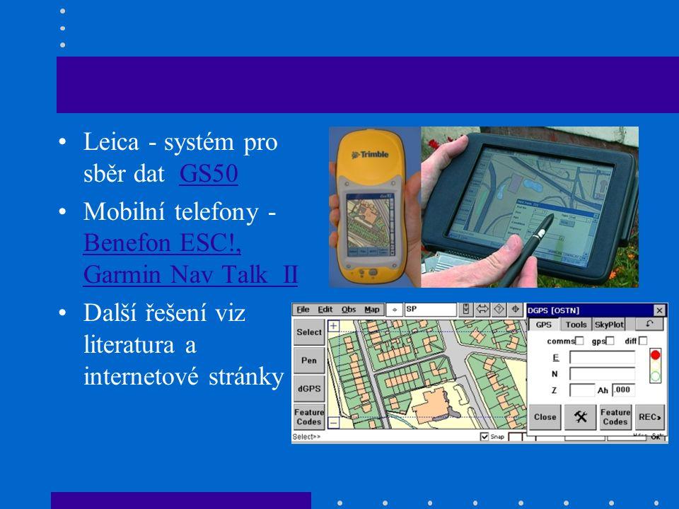 Leica - systém pro sběr dat GS50GS50 Mobilní telefony - Benefon ESC!, Garmin Nav Talk II Benefon ESC!, Garmin Nav Talk II Další řešení viz literatura a internetové stránky