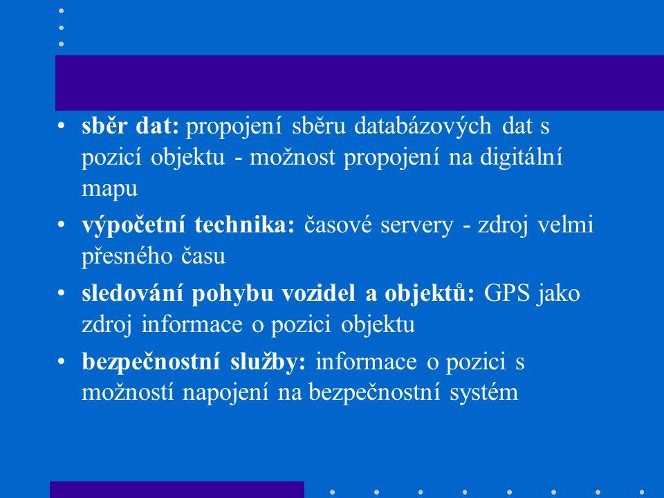 sběr dat: propojení sběru databázových dat s pozicí objektu - možnost propojení na digitální mapu výpočetní technika: časové servery - zdroj velmi přesného času sledování pohybu vozidel a objektů: GPS jako zdroj informace o pozici objektu bezpečnostní služby: informace o pozici s možností napojení na bezpečnostní systém