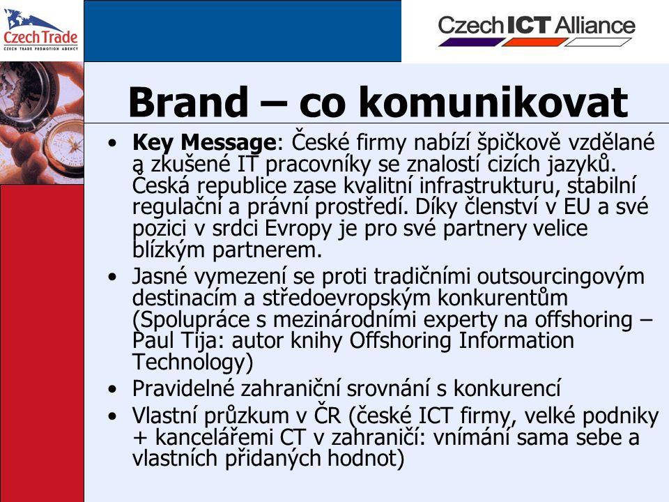Brand – co komunikovat Key Message: České firmy nabízí špičkově vzdělané a zkušené IT pracovníky se znalostí cizích jazyků. Česká republice zase kvali