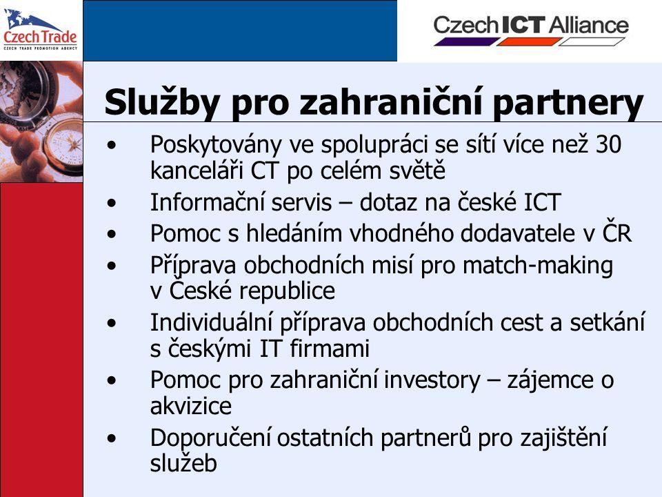 Služby pro zahraniční partnery Poskytovány ve spolupráci se sítí více než 30 kanceláři CT po celém světě Informační servis – dotaz na české ICT Pomoc