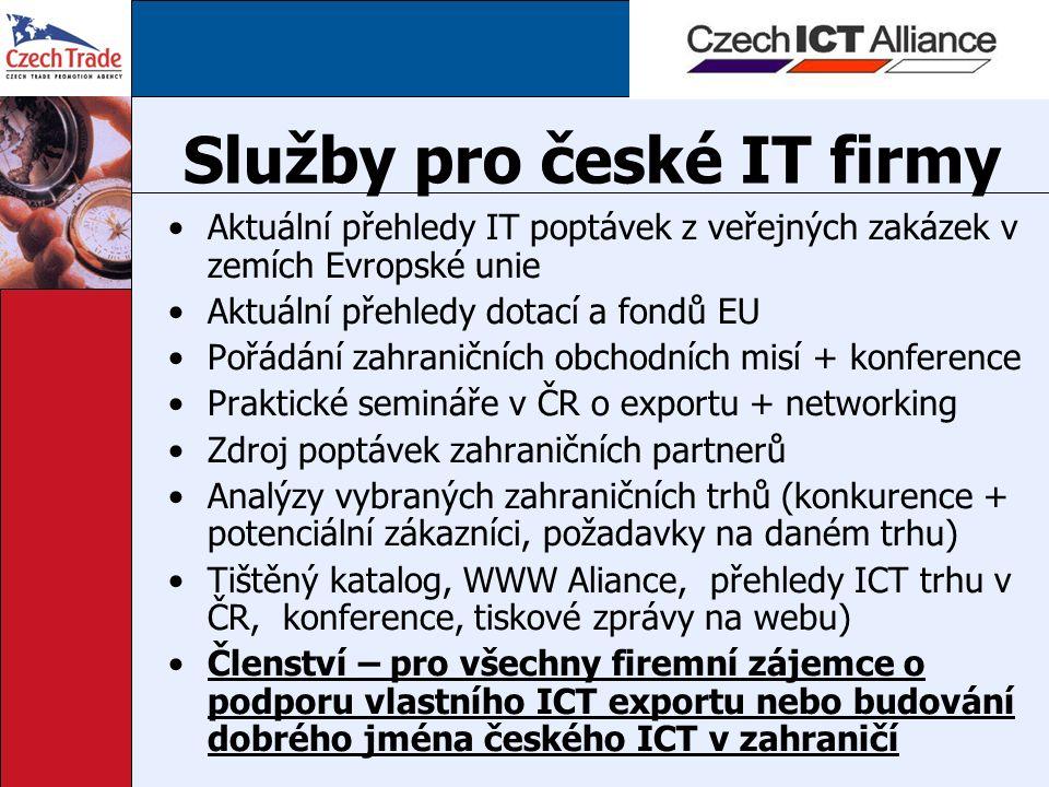 Služby pro české IT firmy Aktuální přehledy IT poptávek z veřejných zakázek v zemích Evropské unie Aktuální přehledy dotací a fondů EU Pořádání zahraničních obchodních misí + konference Praktické semináře v ČR o exportu + networking Zdroj poptávek zahraničních partnerů Analýzy vybraných zahraničních trhů (konkurence + potenciální zákazníci, požadavky na daném trhu) Tištěný katalog, WWW Aliance, přehledy ICT trhu v ČR, konference, tiskové zprávy na webu) Členství – pro všechny firemní zájemce o podporu vlastního ICT exportu nebo budování dobrého jména českého ICT v zahraničí