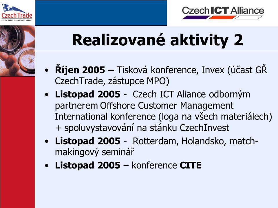 Realizované aktivity 2 Říjen 2005 – Tisková konference, Invex (účast GŘ CzechTrade, zástupce MPO) Listopad 2005 - Czech ICT Aliance odborným partnerem