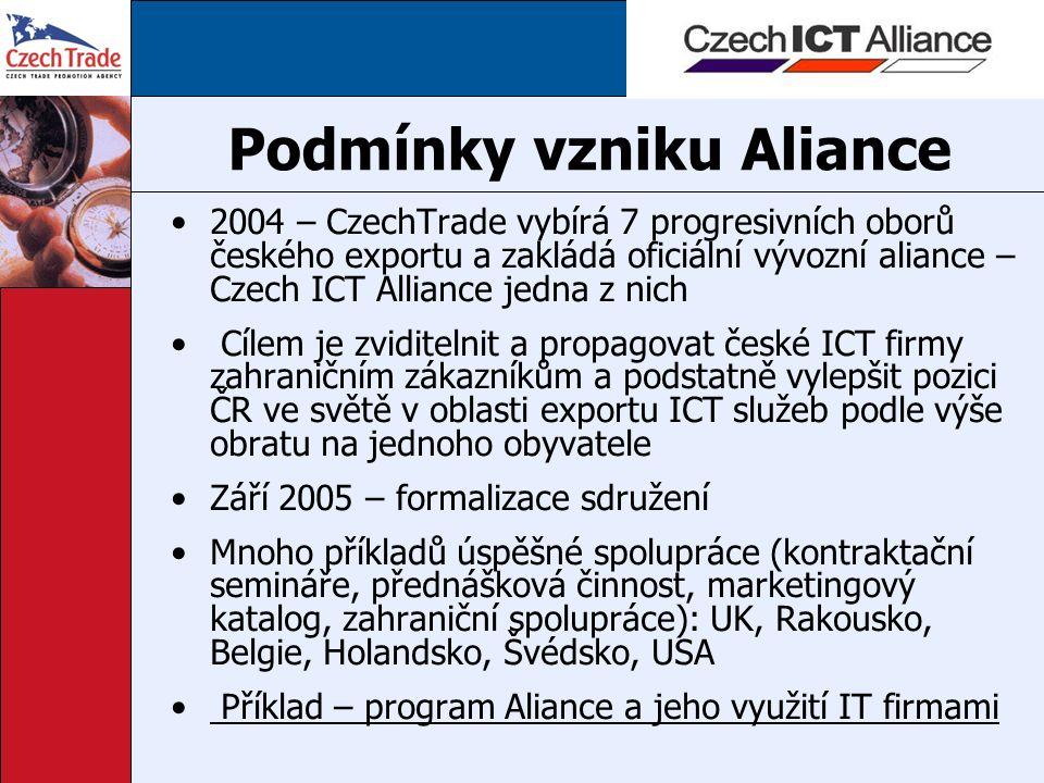 Podmínky vzniku Aliance 2004 – CzechTrade vybírá 7 progresivních oborů českého exportu a zakládá oficiální vývozní aliance – Czech ICT Alliance jedna