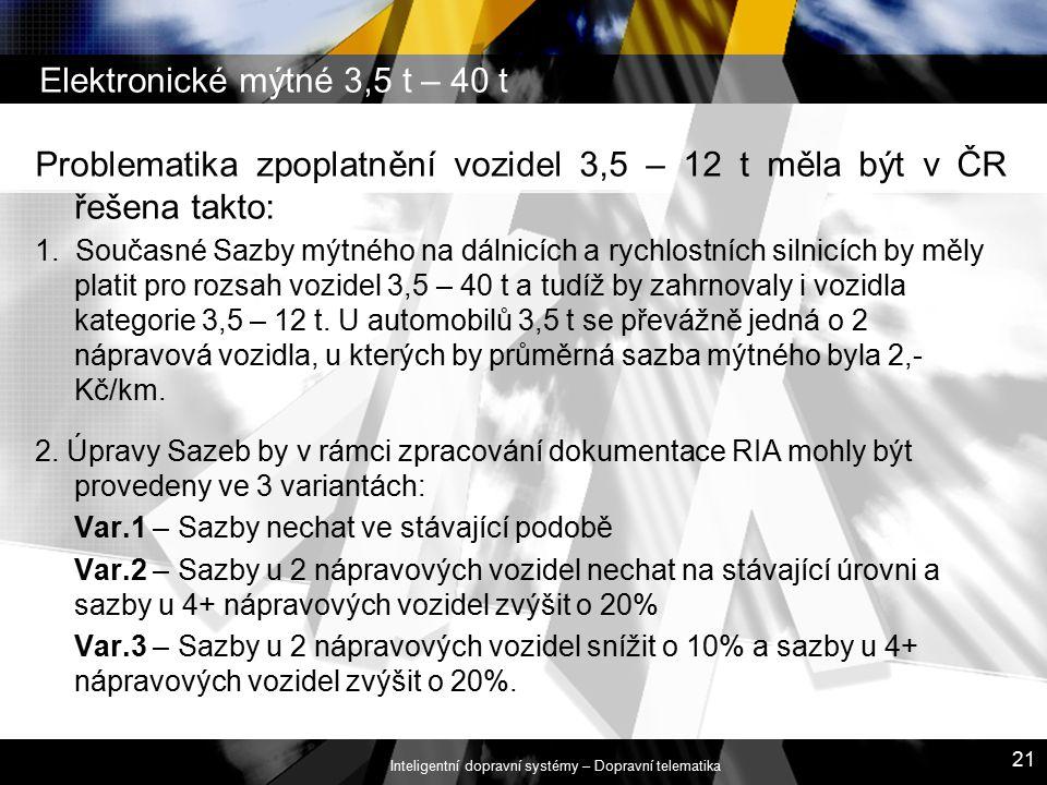 Elektronické mýtné 3,5 t – 40 t Problematika zpoplatnění vozidel 3,5 – 12 t měla být v ČR řešena takto: 1. Současné Sazby mýtného na dálnicích a rychl