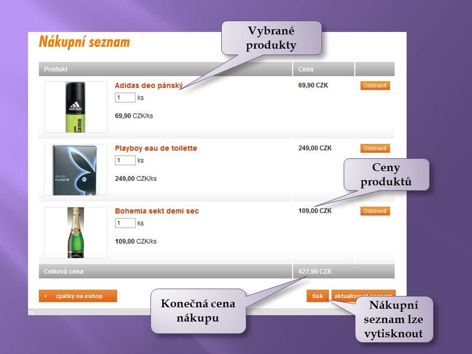 Konečná cena nákupu Vybrané produkty Ceny produktů Nákupní seznam lze vytisknout