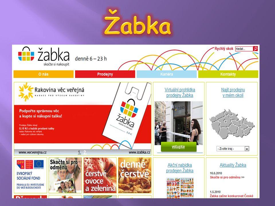  Velmi jednoduchá stránka, jejímž účelem není přímá podpora prodeje zboží, ale marketingová komunikace.