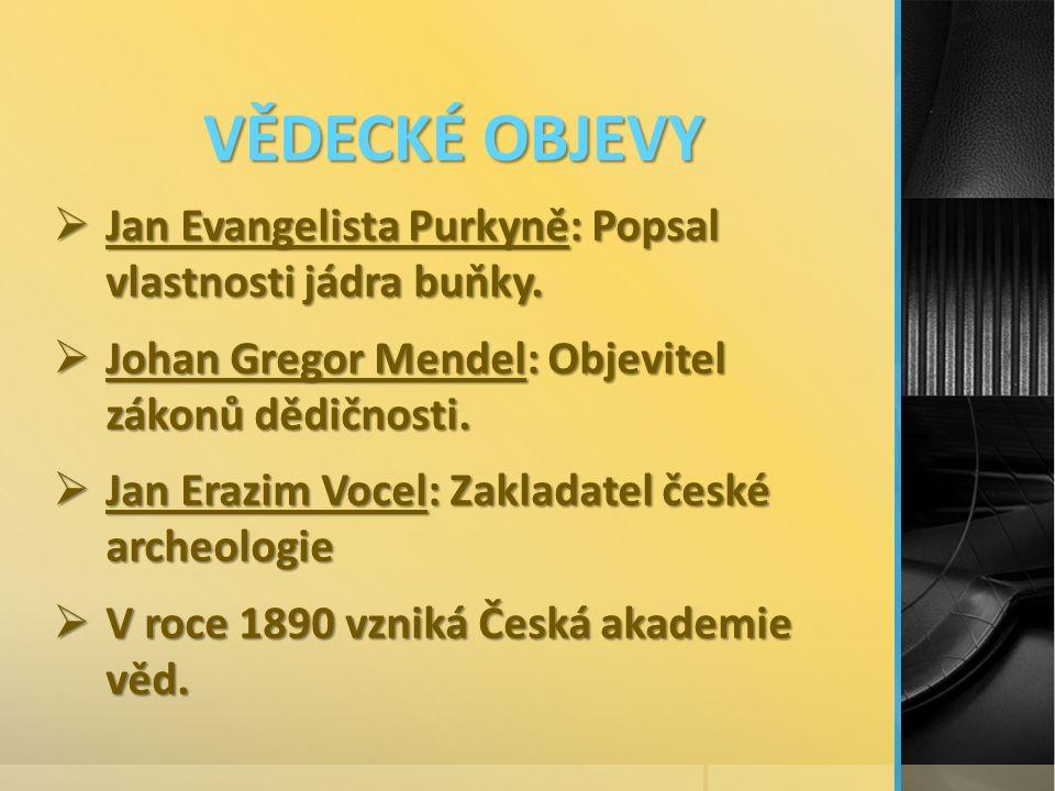 VĚDECKÉ OBJEVY  Jan Evangelista Purkyně: Popsal vlastnosti jádra buňky.
