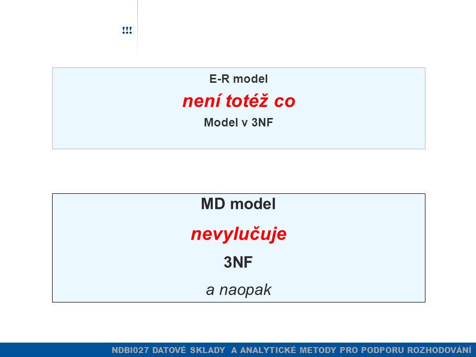 NDBI027 DATOVÉ SKLADY A ANALYTICKÉ METODY PRO PODPORU ROZHODOVÁNÍ !!! E-R model není totéž co Model v 3NF MD model nevylučuje 3NF a naopak