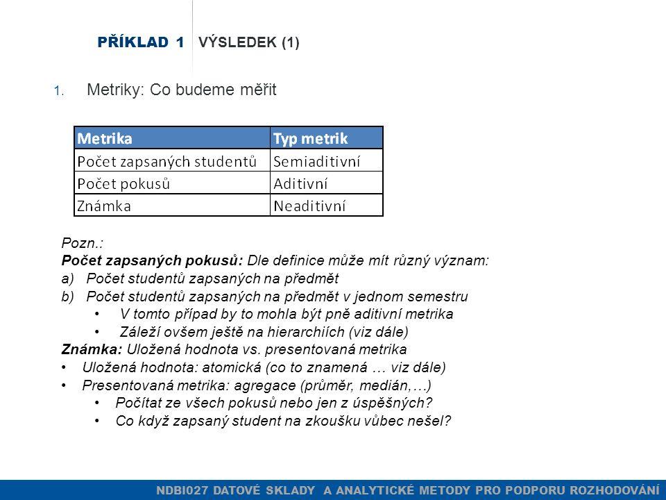 NDBI027 DATOVÉ SKLADY A ANALYTICKÉ METODY PRO PODPORU ROZHODOVÁNÍ PŘÍKLAD 1 VÝSLEDEK (1) 1.