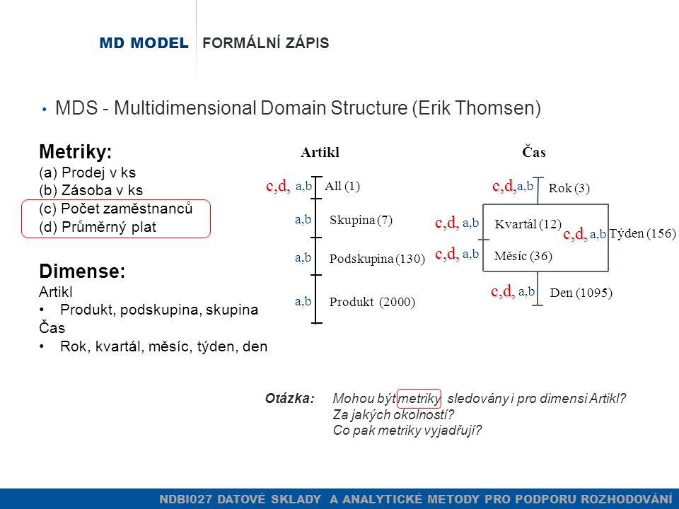 NDBI027 DATOVÉ SKLADY A ANALYTICKÉ METODY PRO PODPORU ROZHODOVÁNÍ MD MODEL FORMÁLNÍ ZÁPIS MDS - Multidimensional Domain Structure (Erik Thomsen) Metri