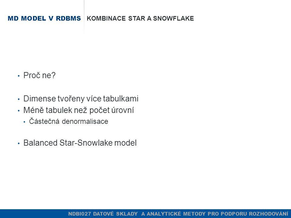 NDBI027 DATOVÉ SKLADY A ANALYTICKÉ METODY PRO PODPORU ROZHODOVÁNÍ MD MODEL V RDBMS KOMBINACE STAR A SNOWFLAKE Proč ne.