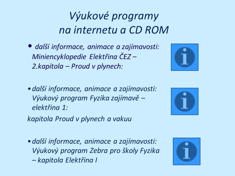 Výukové programy na internetu a CD ROM další informace, animace a zajímavosti: Miniencyklopedie Elektřina ČEZ – 2.kapitola – Proud v plynech: další in