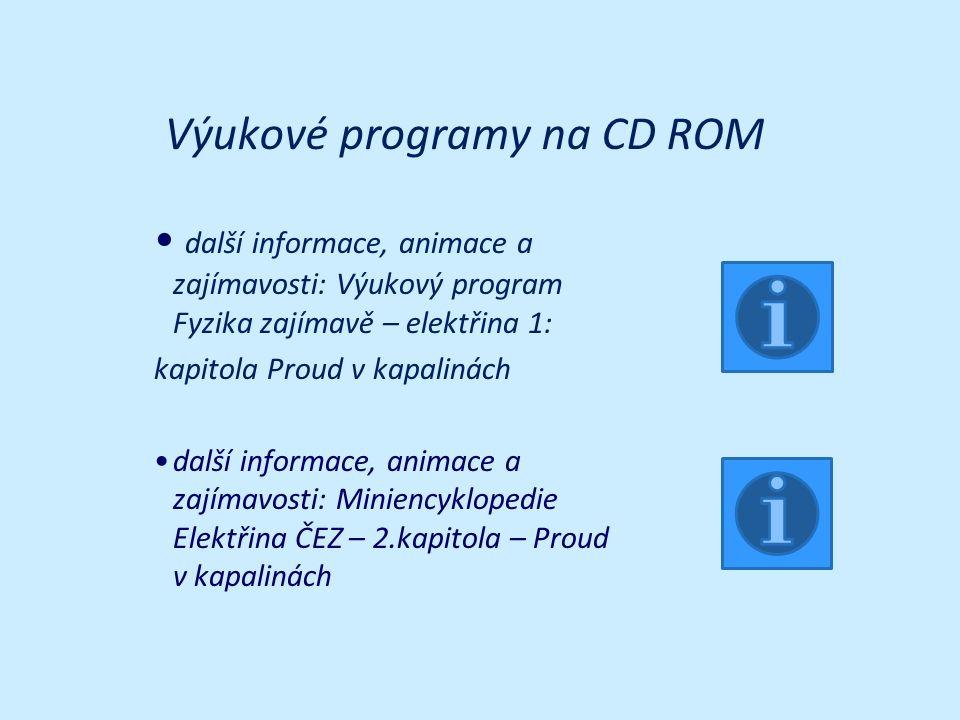 Výukové programy na CD ROM další informace, animace a zajímavosti: Výukový program Fyzika zajímavě – elektřina 1: kapitola Proud v kapalinách další in