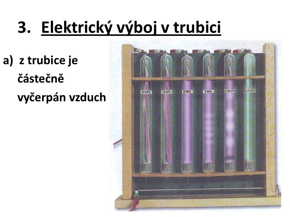 3.Elektrický výboj v trubici a)z trubice je částečně vyčerpán vzduch