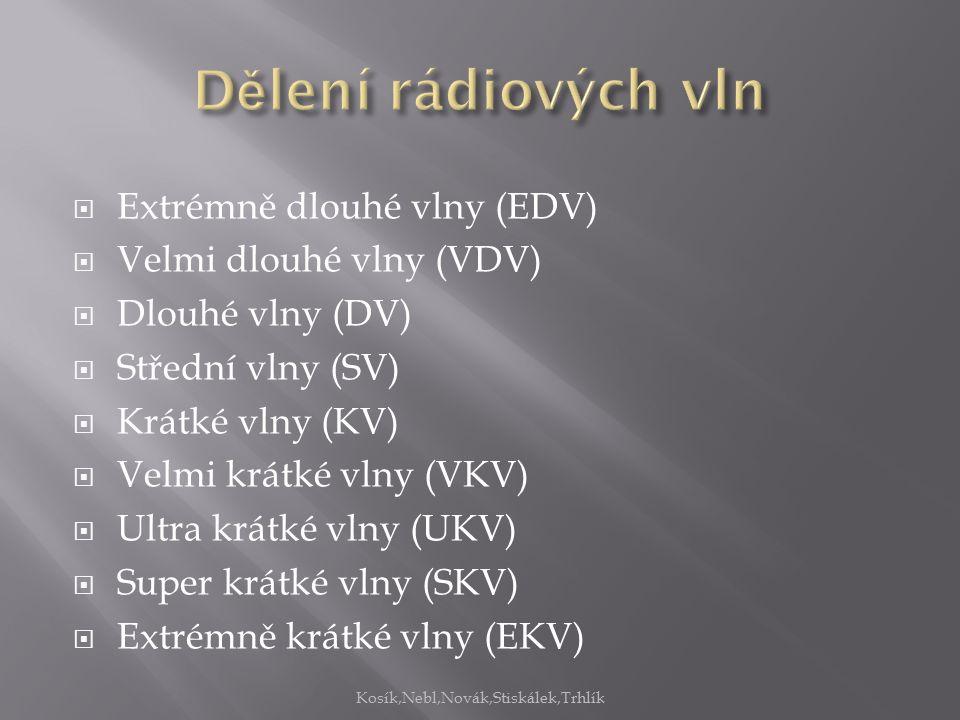  Extrémně dlouhé vlny (EDV)  Velmi dlouhé vlny (VDV)  Dlouhé vlny (DV)  Střední vlny (SV)  Krátké vlny (KV)  Velmi krátké vlny (VKV)  Ultra krátké vlny (UKV)  Super krátké vlny (SKV)  Extrémně krátké vlny (EKV) Kosík,Nebl,Novák,Stiskálek,Trhlík