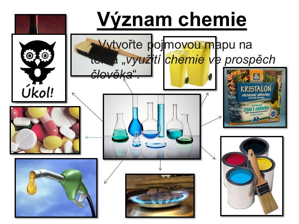 """Význam chemie Vytvořte pojmovou mapu na téma """"využití chemie ve prospěch člověka ."""