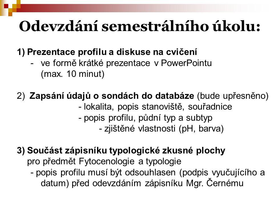 Odevzdání semestrálního úkolu: 1)Prezentace profilu a diskuse na cvičení -ve formě krátké prezentace v PowerPointu (max. 10 minut) 2) Zapsání údajů o