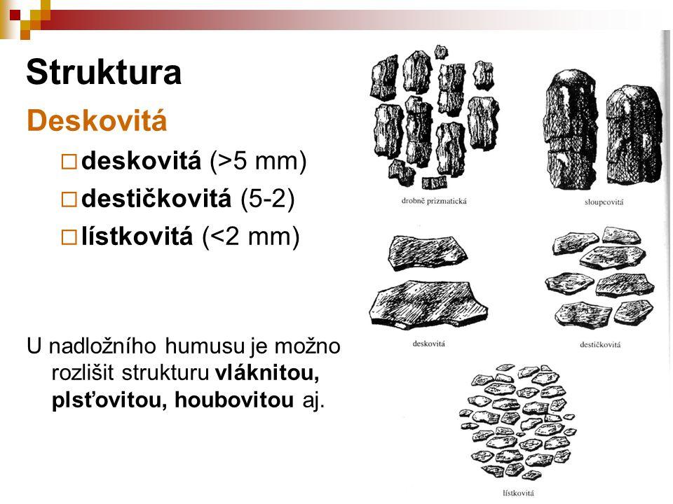 Deskovitá  deskovitá (>5 mm)  destičkovitá (5-2)  lístkovitá (<2 mm) U nadložního humusu je možno rozlišit strukturu vláknitou, plsťovitou, houbovi