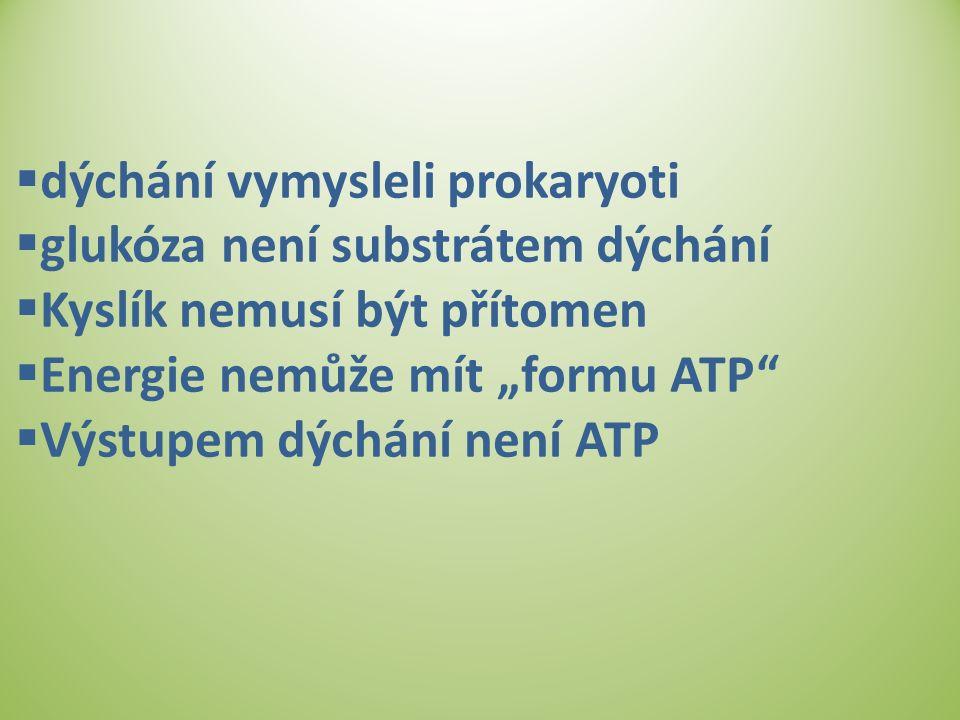 """ dýchání vymysleli prokaryoti  glukóza není substrátem dýchání  Kyslík nemusí být přítomen  Energie nemůže mít """"formu ATP""""  Výstupem dýchání není"""