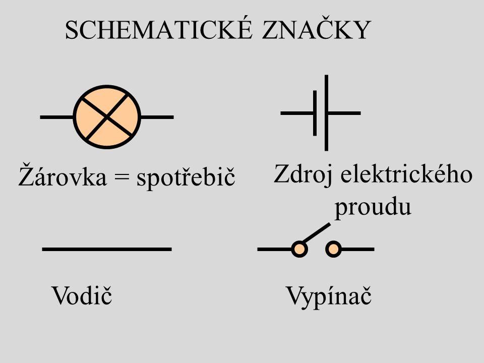 SCHEMATICKÉ ZNAČKY Zdroj elektrického proudu Žárovka = spotřebič VypínačVodič