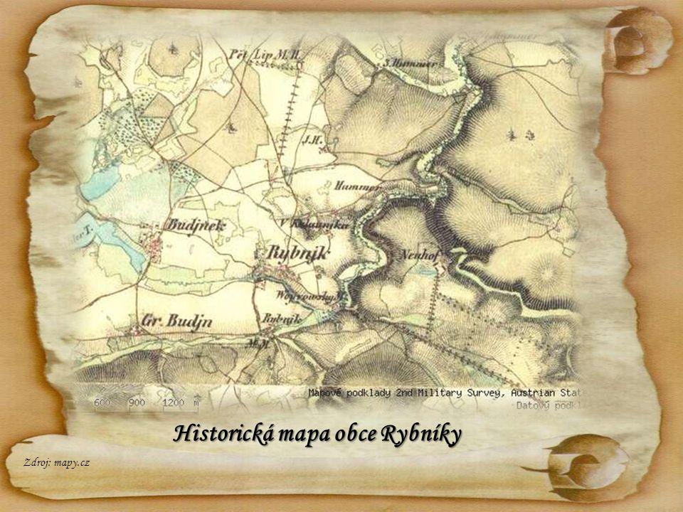 Historická mapa obce Rybníky Zdroj: mapy.cz