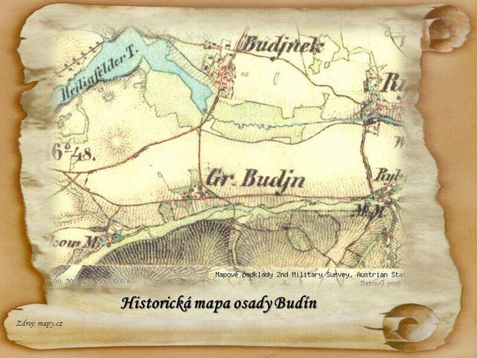 Historická mapa osady Budín